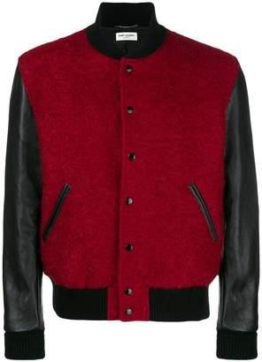Saint Laurent color block varsity jacket