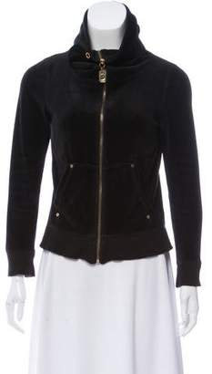 MICHAEL Michael Kors Velour Zip-Up Sweater