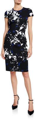 St. John Graphic Floral Jacquard Short-Sleeve Dress w/ Back Slit