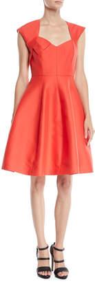 Halston Structured Dress w/ Cap Sleeves