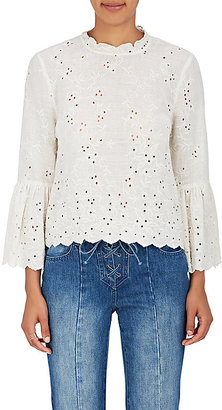 Ulla Johnson Women's Grace Cotton-Linen Eyelet Blouse $300 thestylecure.com