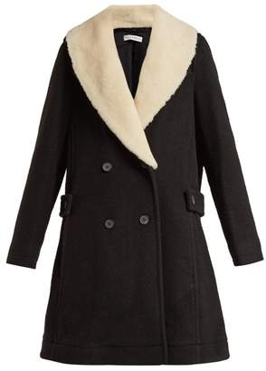 J.W.Anderson Shearling Collar Wool Coat - Womens - Black