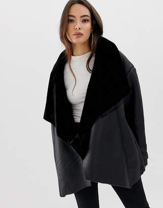 Missguided waterfall shearling jacket
