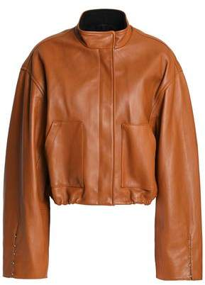 3.1 Phillip Lim Barbell-Embellished Leather Bomber Jacket