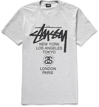 Stüssy World Tour Printed Cotton-Blend Jersey T-Shirt $30 thestylecure.com