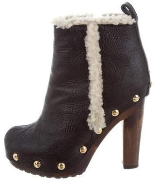 Giuseppe Zanotti Shearling-Lined Leather Ankle Boots