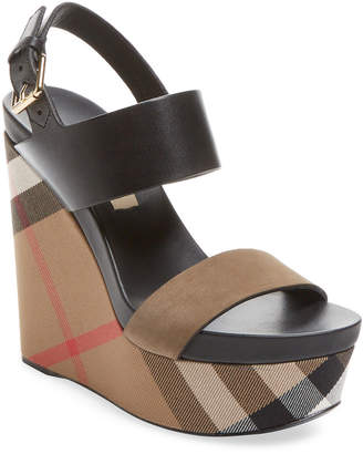 Burberry House Check Leather Wedge