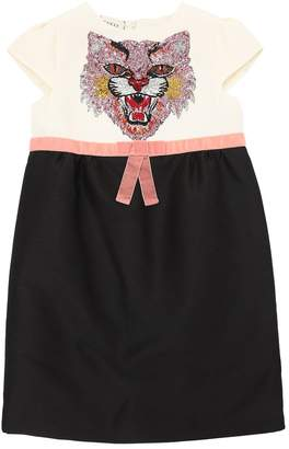 Gucci Sequins Embroidered Silk & Cotton Dress
