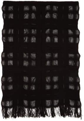 Yohji Yamamoto Black Boucle Check Stole Scarf