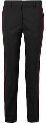 Calvin Klein Velvet-trimmed Stretch-wool Slim-leg Pants