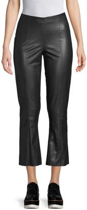 Pure Navy Faux Leather Cropped Pants