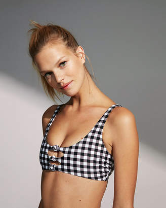 Express Print Knot Front Cut-Out Bikini Top