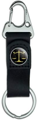 Justice Generic Gold Balanced Scales of Symbol Belt Clip On Carabiner Leather Keychain Fabric Key Ring