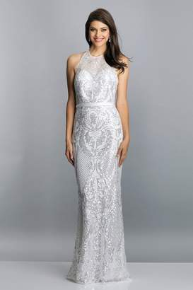 Dave and Johnny Sequin Halter Sheath Gown