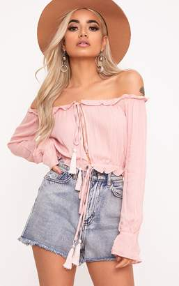 PrettyLittleThing Baby Pink Bardot Double Tie Front Top