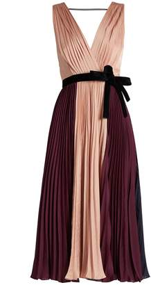 Roksanda Kora tri-colour pleated satin dress