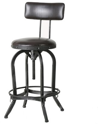 Noble House Brason Brown Leather Bar Stool with Backrest