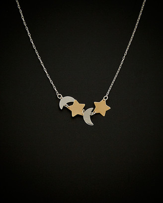 Italian Gold 14K Two-Tone Star & Moon Celestial Necklace