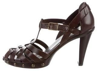 Stuart Weitzman Ankle Strap Woven Leather Sandals