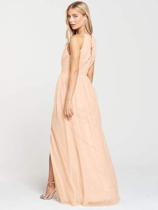 442f82d52cbe2 Little Mistress Mesh Halter Neck Maxi Dress - Nude
