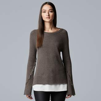 Vera Wang Women's Simply Vera Mock-Layer Bell Sleeve Sweater