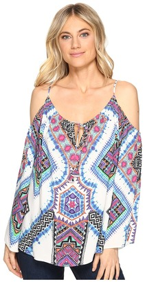 Hale Bob - Road Tripping Rayon Woven Cold Shoulder Top Women's Clothing $150 thestylecure.com