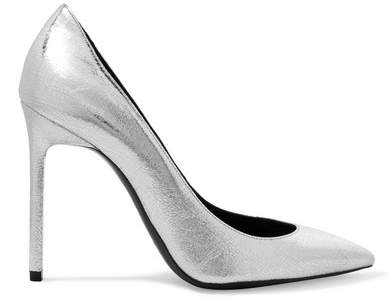Saint Laurent - Anja Metallic Textured-leather Pumps - Silver