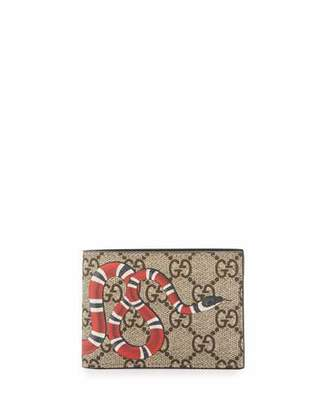 Gucci Bestiary Snake-Print GG Supreme Wallet $295 thestylecure.com