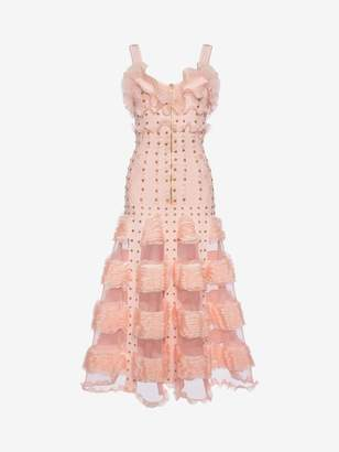 Alexander McQueen Cage Ruffle Knitted Long Dress