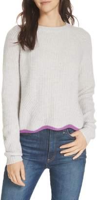 Autumn Cashmere Contrast Scallop Hem Cashmere Sweater