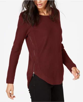 INC International Concepts I.n.c. Waffle-Knit Side-Zip Tunic Sweater