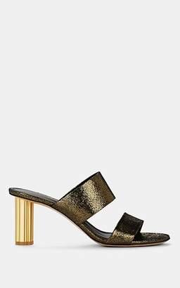 Salvatore Ferragamo Women's Molveno Flower-Heel Metallic Leather Sandals - Gold