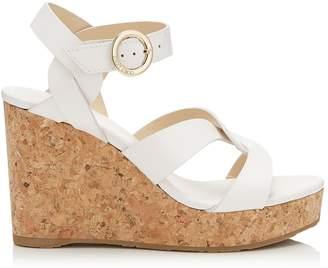 Jimmy Choo Aleili 100 Leather Wedge Sandals