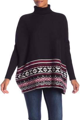 Joseph A Patterned Turtleneck Poncho Sweater
