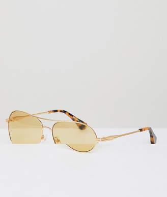 Sonix Lodi aviator sunglasses in yellow
