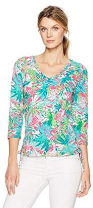 Caribbean Joe Women's Best Selling V Neck Side Ruche Leaf Printed Top