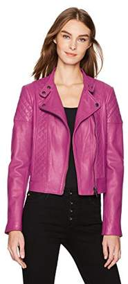 Bagatelle Women's Leather Quilted Moto Jacket