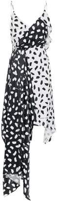 Off-White Princess sleeveless pois print asymmetric slip dress