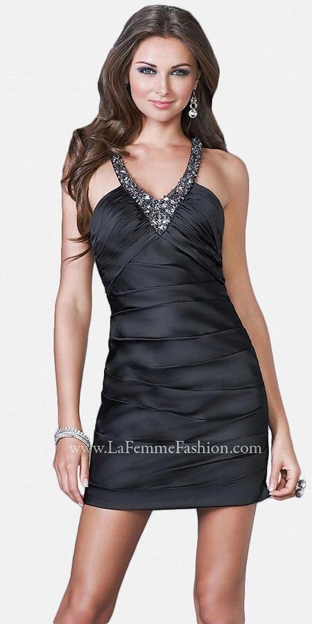 La Femme Sexy Pleated Short Prom Dresses