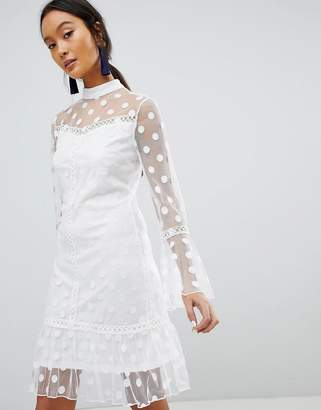Parisian Polka Dot Mesh Shift Dress