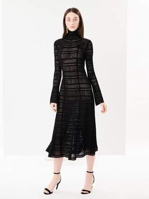 Oscar de la Renta Lace-Stitch Turtleneck Dress