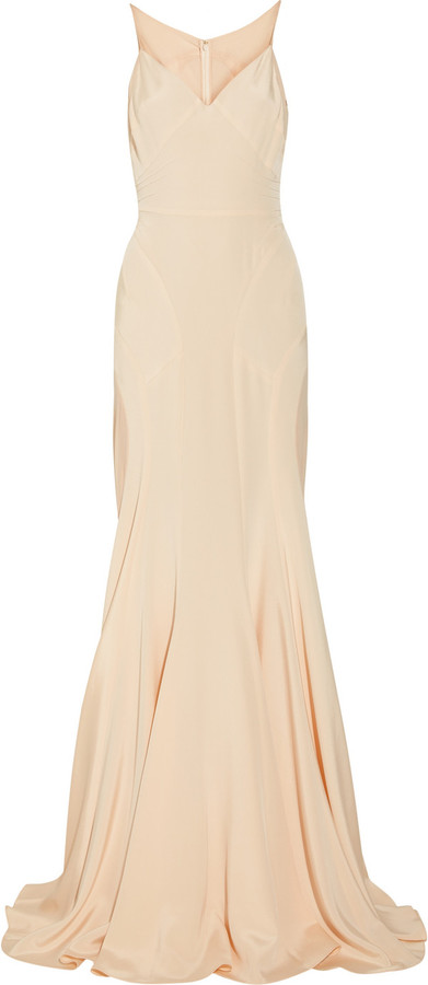 Zac Posen Silk-blend stretch-crepe and chiffon gown