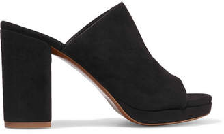 Robert Clergerie - Abrice Suede Mules - Black $550 thestylecure.com