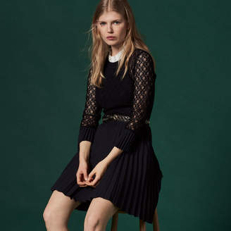 Sandro Mixed fabric dress with high neck