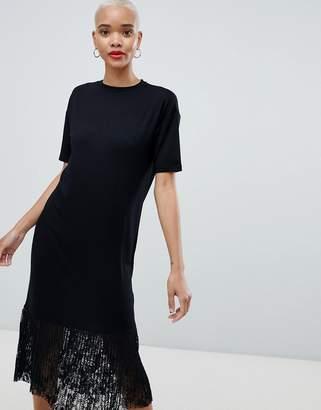 Asos DESIGN Midi T-Shirt Dress with Pleated Lace Hem