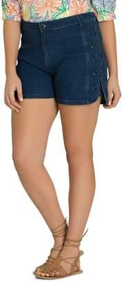 City Chic Plus Denim Lace-Up Shorts