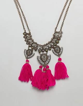 Asos Design DESIGN Statement Engraved Iridescent Jewel And Tassel Bib Necklace