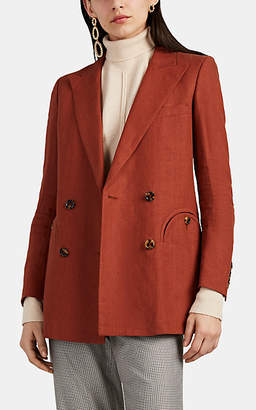 BLAZÉ MILANO Women's Everyday Slub Linen Double-Breasted Blazer - Paprika
