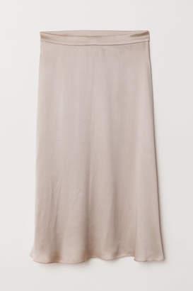 H&M Silk-blend Skirt - Brown