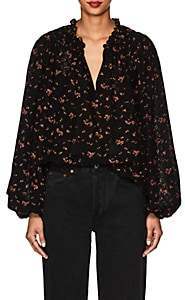 Ulla Johnson Women's Siarah Floral Cotton Eyelet Blouse - Black